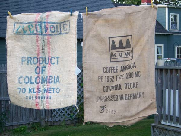 The Barrel Man of Maine burlap sacks