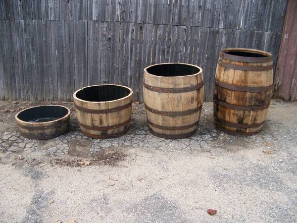 The Barrel Man of Maine whiskey barrels